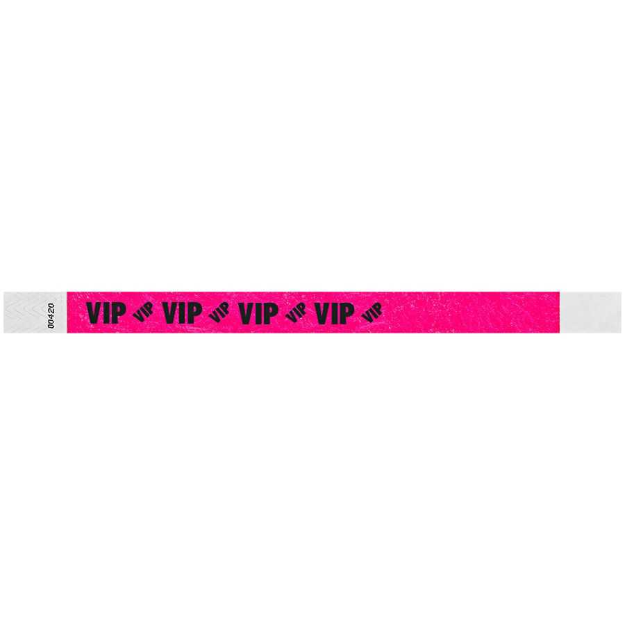 Carnival King Neon Pink VIP Disposable Tyvek® Wristband 3/4 inch x 10 inch - 500/Bag