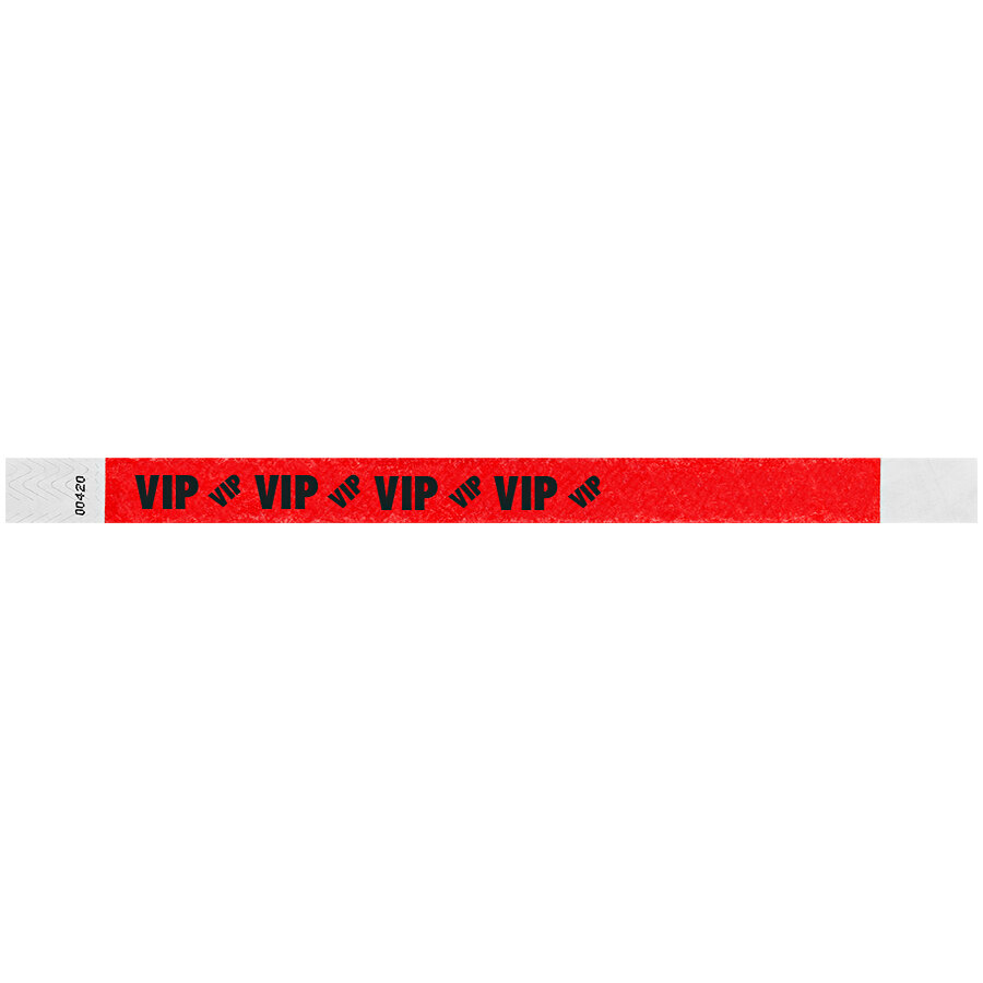 Carnival King Tomato Red VIP Disposable Tyvek® Wristband 3/4 inch x 10 inch - 500/Bag