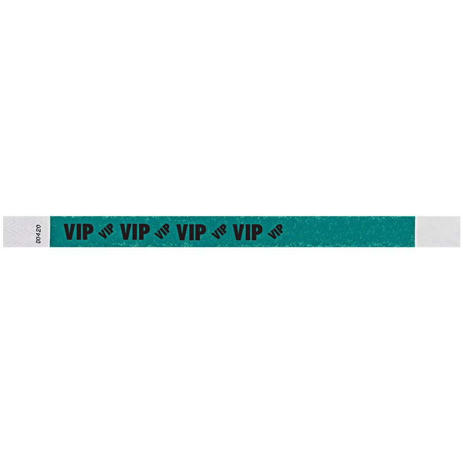 Carnival King Teal VIP Disposable Tyvek® Wristband 3/4 inch x 10 inch - 500/Bag