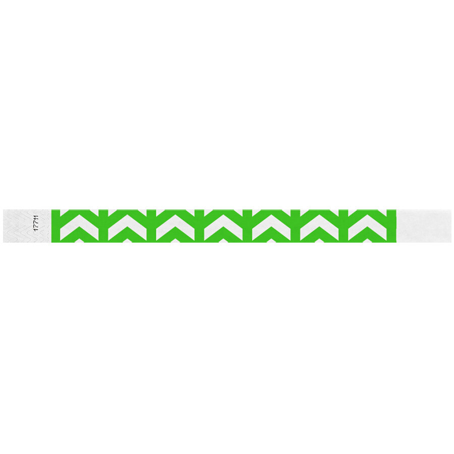 Carnival King Neon Green Arrows Up Disposable Tyvek® Wristband 3/4 inch x 10 inch - 500/Bag