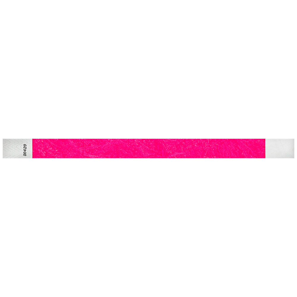 Carnival King Neon Pink Disposable Tyvek® Wristband 3/4 inch x 10 inch - 500/Bag