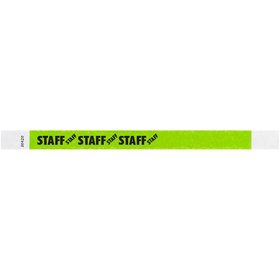 Carnival King Lemon Lime STAFF Disposable Tyvek® Wristband 3/4 inch x 10 inch - 500/Bag