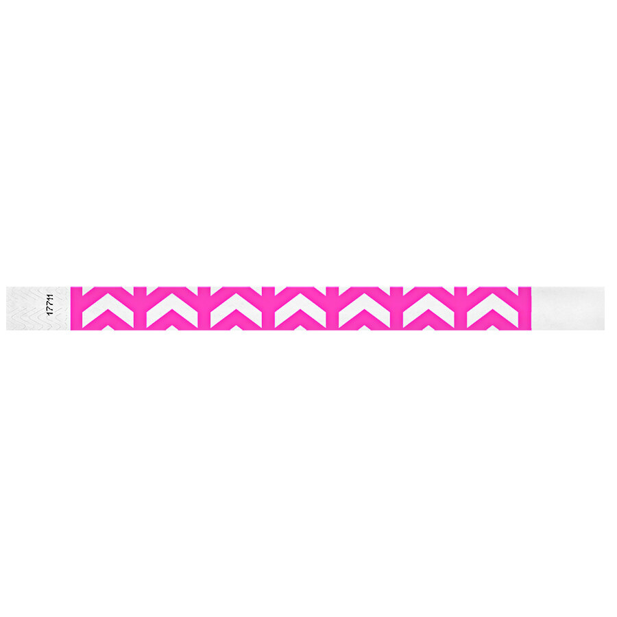 Carnival King Neon Pink Arrows Up Disposable Tyvek® Wristband 3/4 inch x 10 inch - 500/Bag