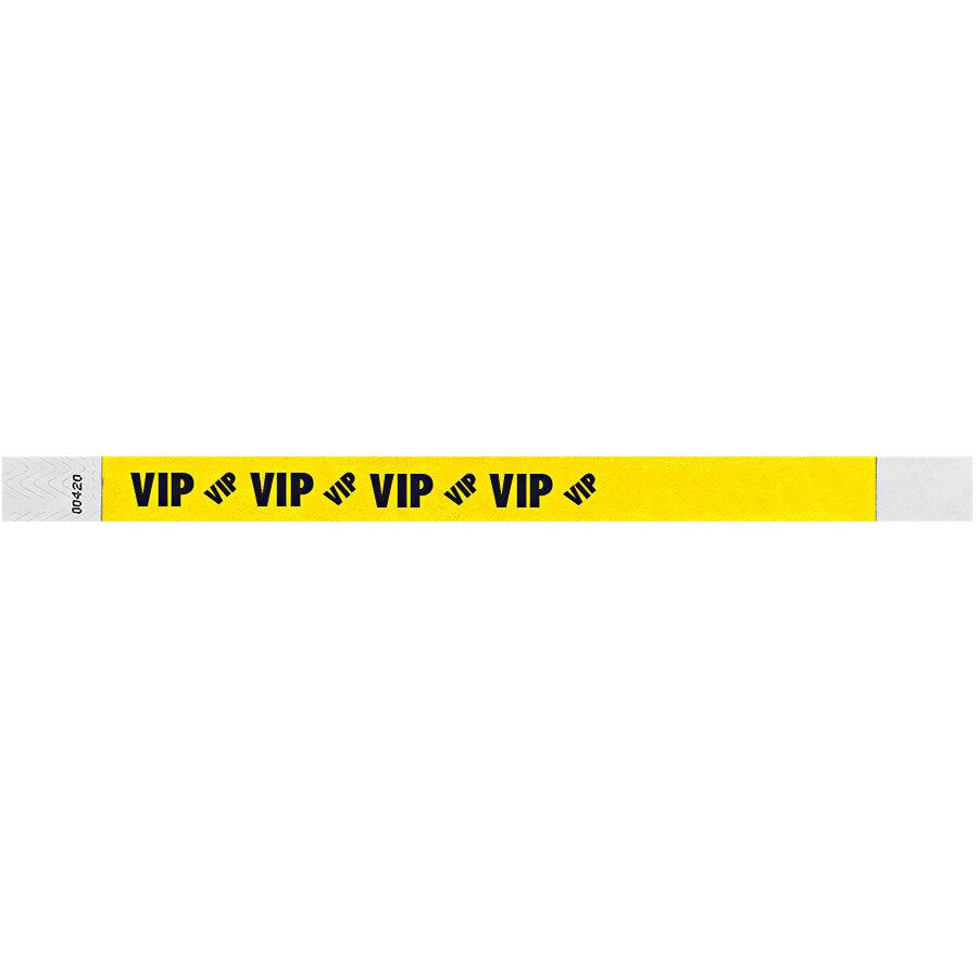 Carnival King Neon Yellow VIP Disposable Tyvek® Wristband 3/4 inch x 10 inch - 500/Bag