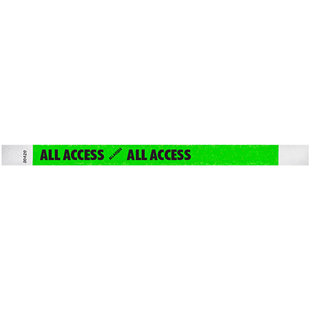 Carnival King Neon Green ALL ACCESS Disposable Tyvek® Wristband 3/4 inch x 10 inch - 500/Bag