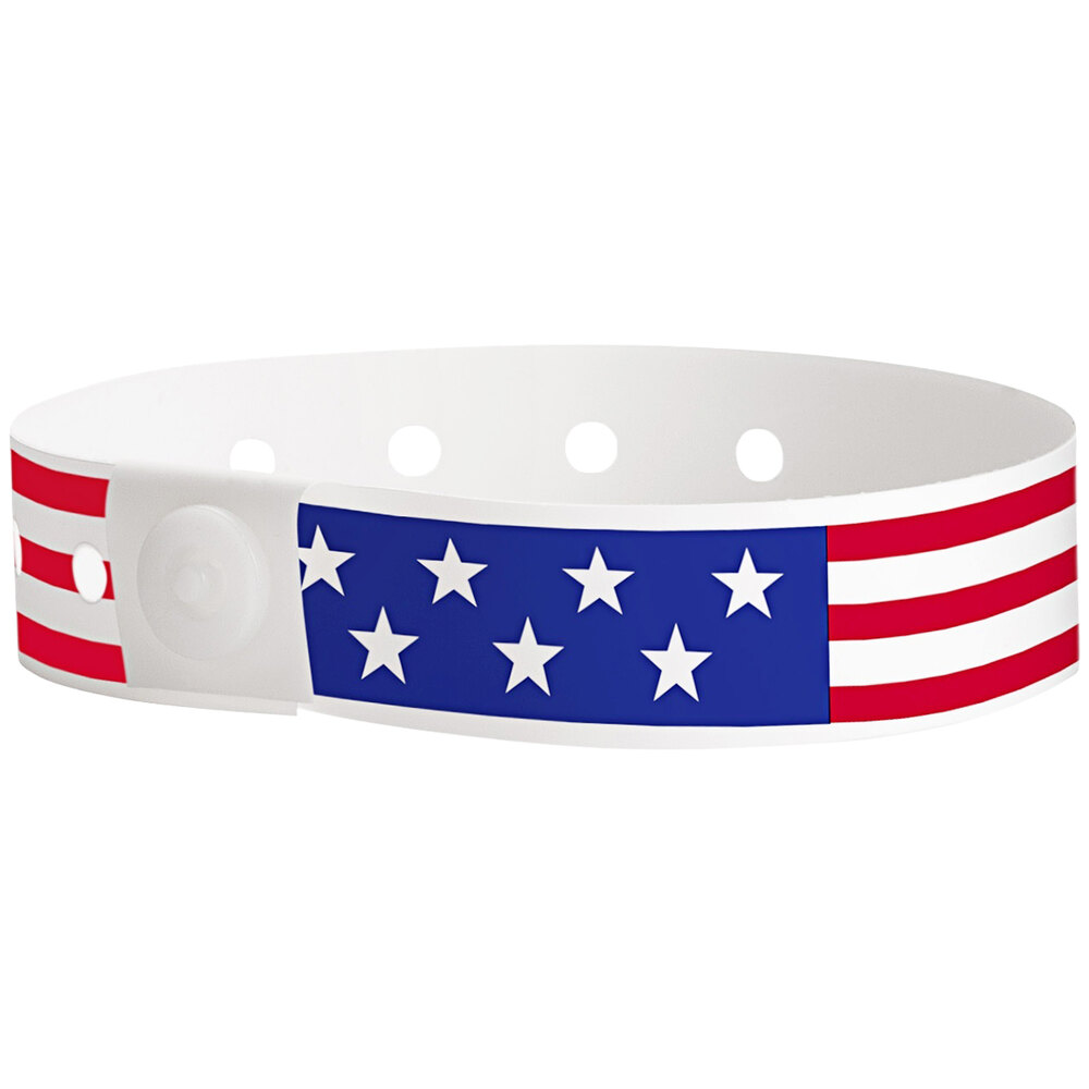 Carnival King Patriotic Disposable Plastic Wristband 5/8 inch x 10 inch - 500/Box