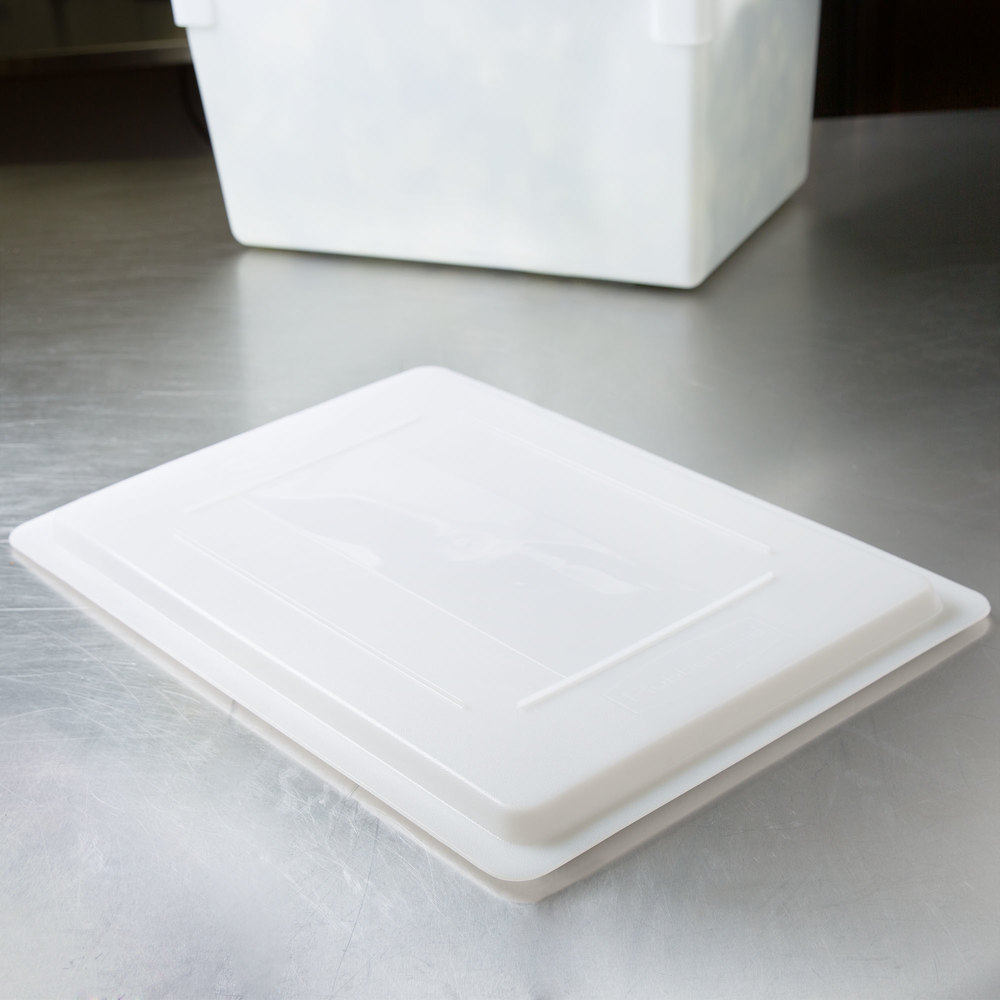 "Rubbermaid FG350200WHT White Polyethylene Lid - 26"" x 18"""