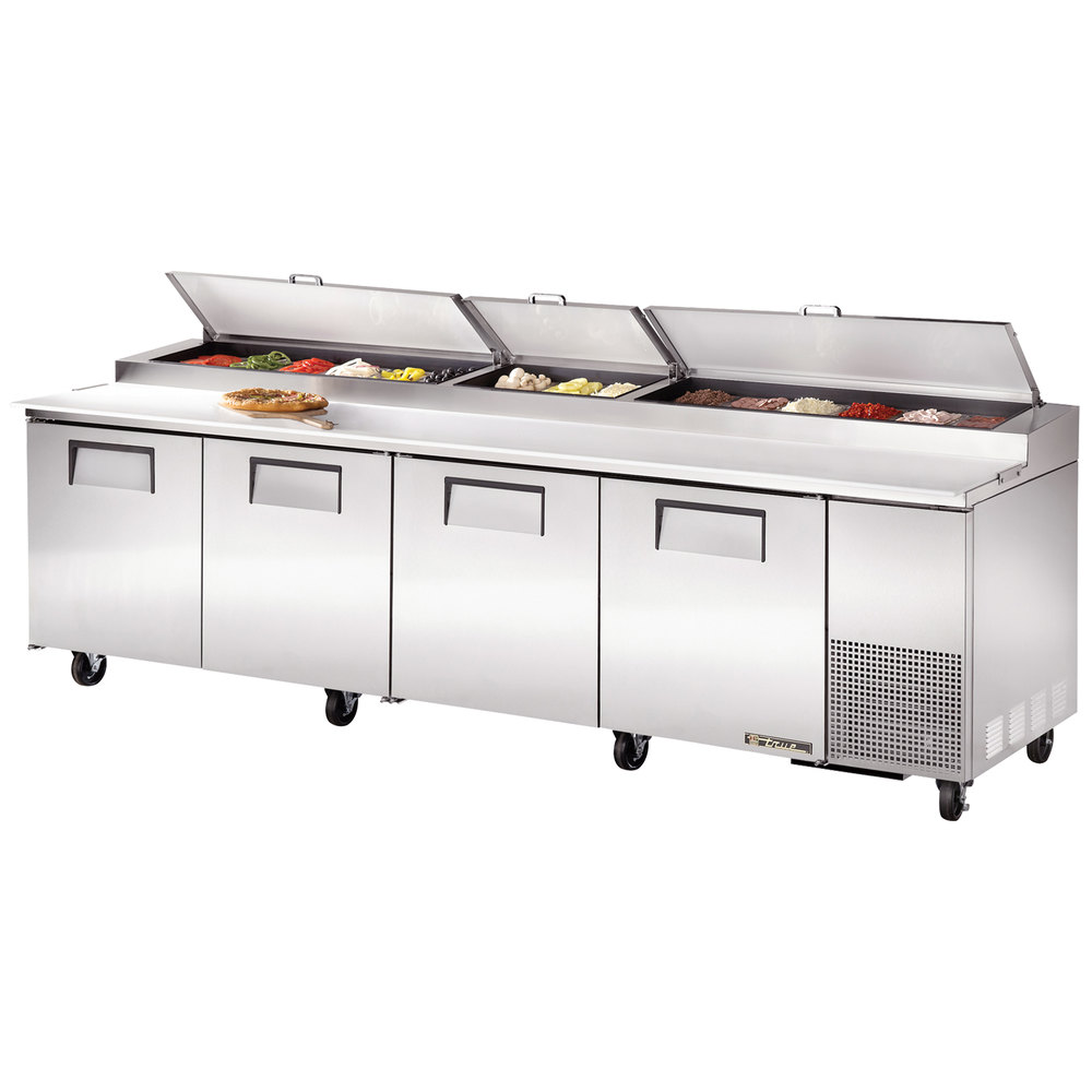 "True TPP-119 119"" Four Door Refrigerated Pizza Prep Table"