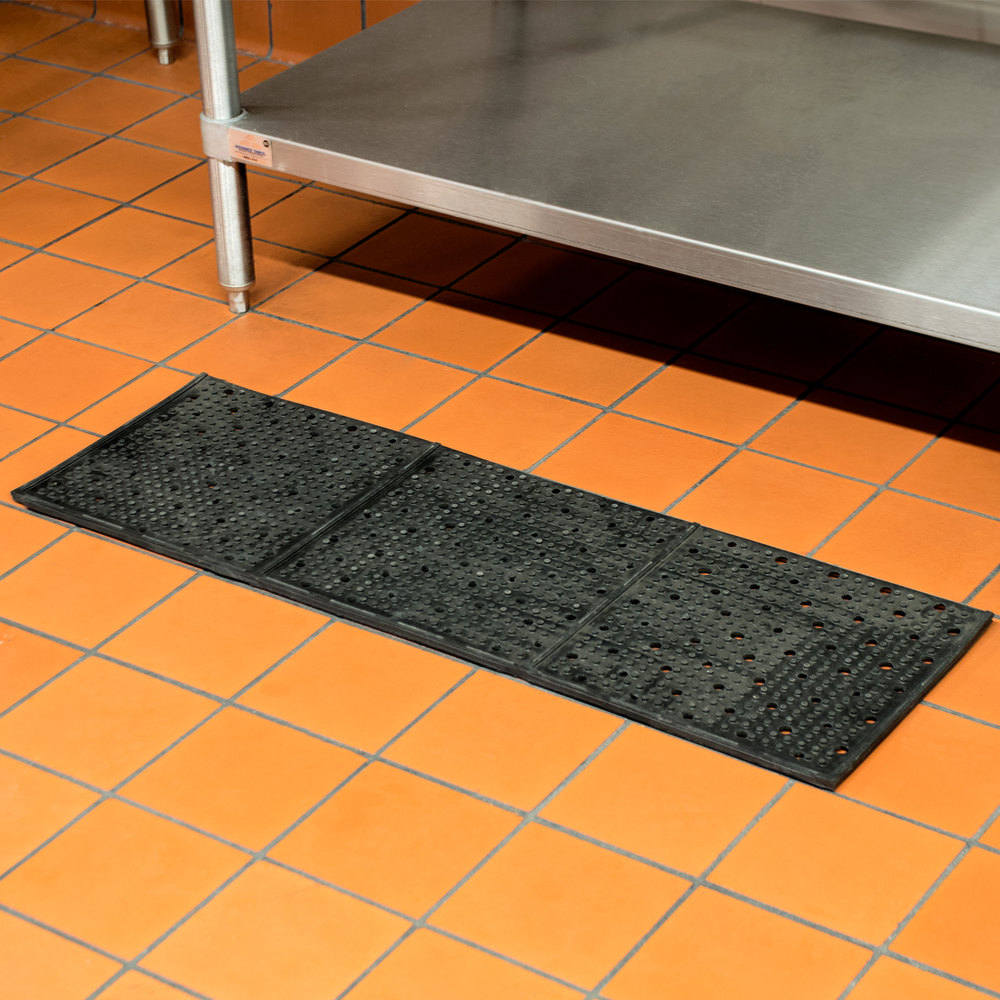 "Cactus Mat 1640R-C332 REVERS-a-MAT 3' Wide Black Reversible Rubber Anti-Fatigue Safety Runner Mat - 3/8"" Thick"