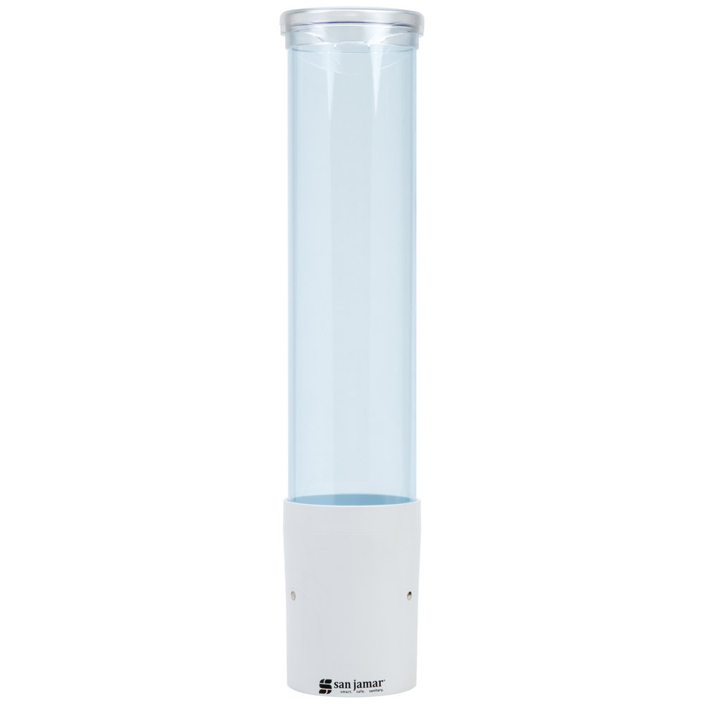 "San Jamar C4180TBLW Pull-Type Arctic Blue 3 - 5 oz. Flat / 3 - 4.5 oz. Cone Cup Dispenser with Throat and White Lid - 16"" Long"