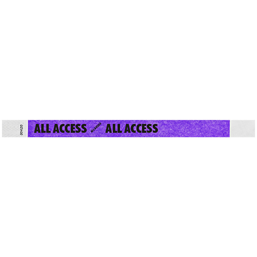 Carnival King Neon Purple ALL ACCESS Disposable Tyvek® Wristband 3/4 inch x 10 inch - 500/Bag