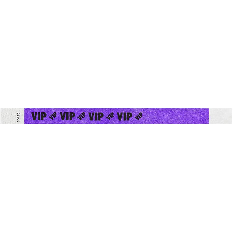 Carnival King Neon Purple VIP Disposable Tyvek® Wristband 3/4 inch x 10 inch - 500/Bag