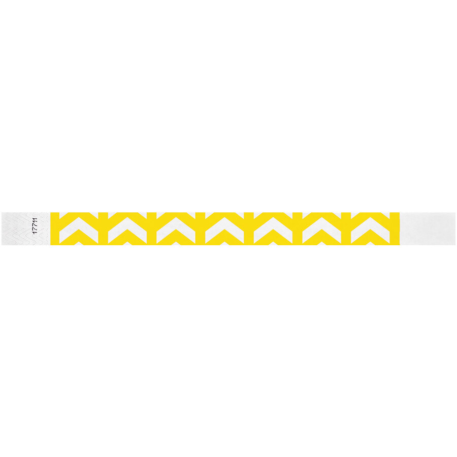 Carnival King Neon Yellow Arrows Up Disposable Tyvek® Wristband 3/4 inch x 10 inch - 500/Bag