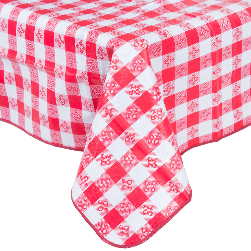 52 x 70 red gingham vinyl table cover with flannel back for Table induction 70 x 52