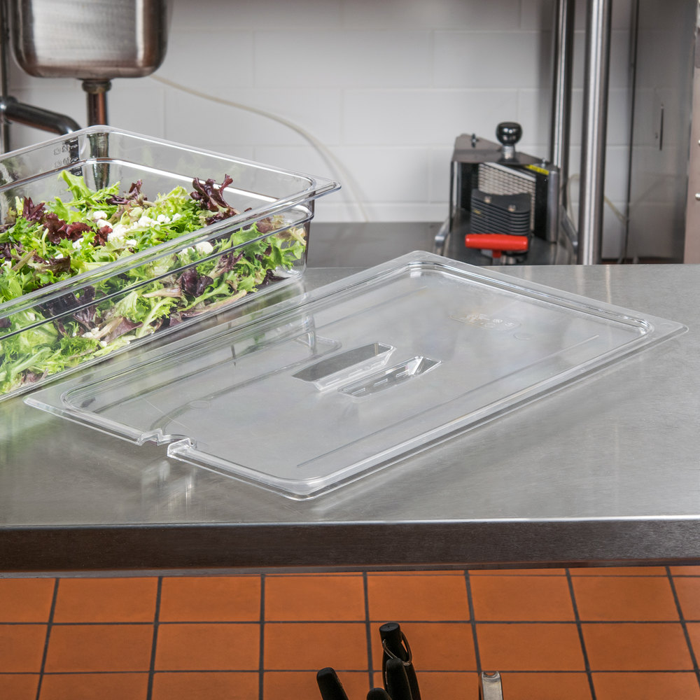 Cambro 10CWCHN135 Camwear Full Size Clear Polycarbonate Handled Lid with Spoon Notch