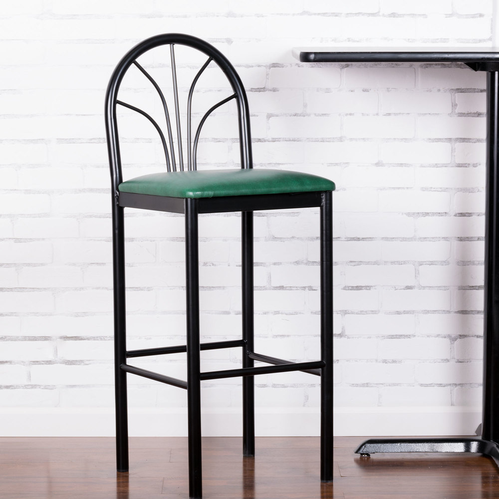 "Lancaster Table & Seating Fan Back Bar Height Cafe Chair with 2"" Green Padded Seat"