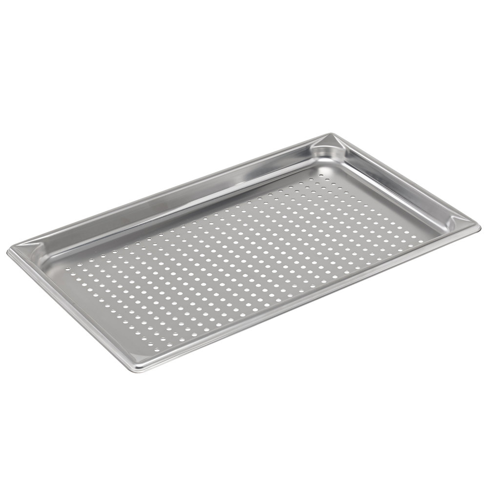 "Vollrath 30013 Super Pan V Full Size Anti-Jam Stainless Steel Perforated Steam Table / Hotel Pan - 1 1/2"" Deep"