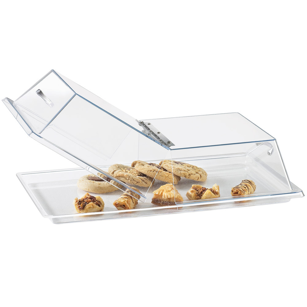 "Cal-Mil 328-13 Clear Standard Rectangular Bakery Tray Cover with Center Hinge - 13"" x 18"" x 4"""