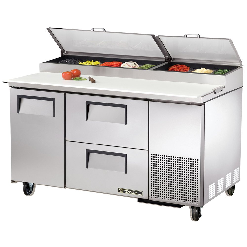 "True TPP-60D-2 60"" Refrigerated Pizza Prep Table with One Door and Two Drawers"