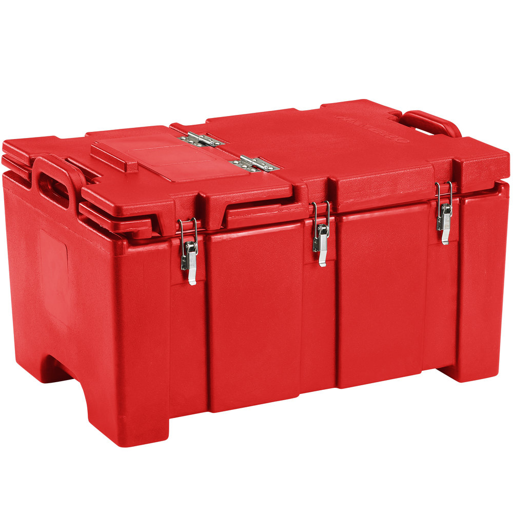 "Cambro 100MPCHL158 Camcarrier Red Top loading Pan Carrier with Hinged Lid for 12"" x 20"" Food Pans"
