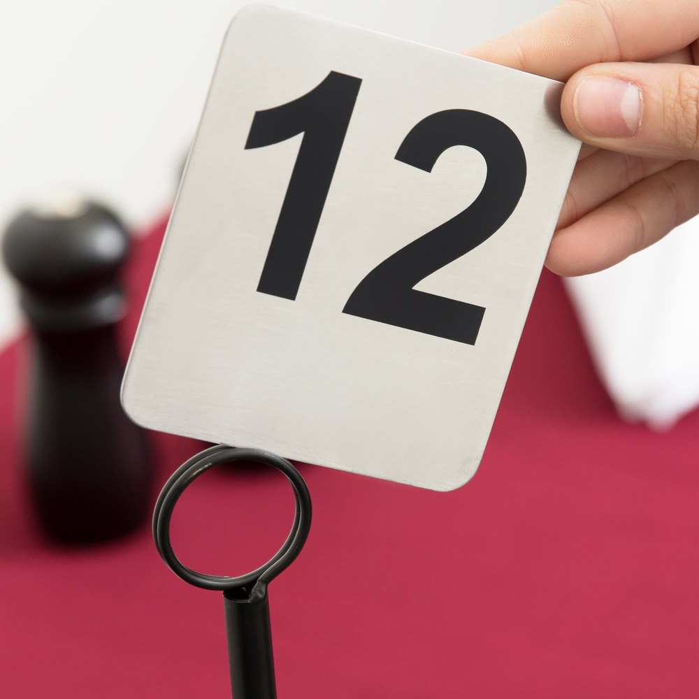 Tablecraft N125 1 to 25 Stainless Steel Table Number