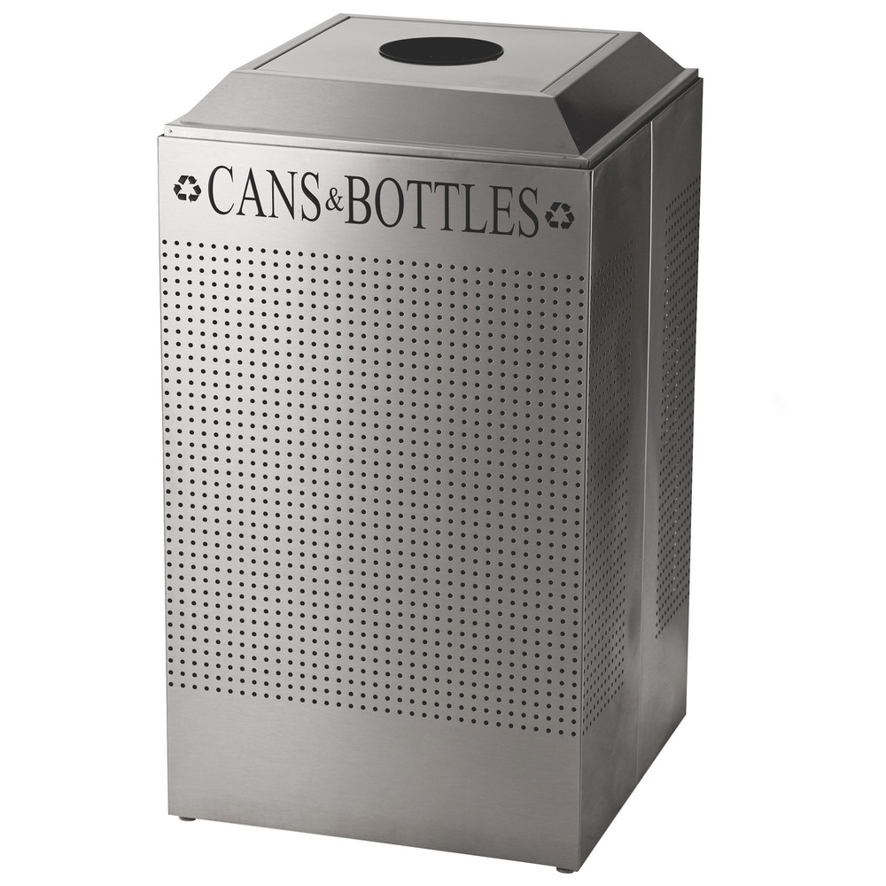 Rubbermaid DCR24CPSS Silhouettes Stainless Steel 29 Gallon Recycling Receptacle for Cans / Bottles (FGDCR24CSS)