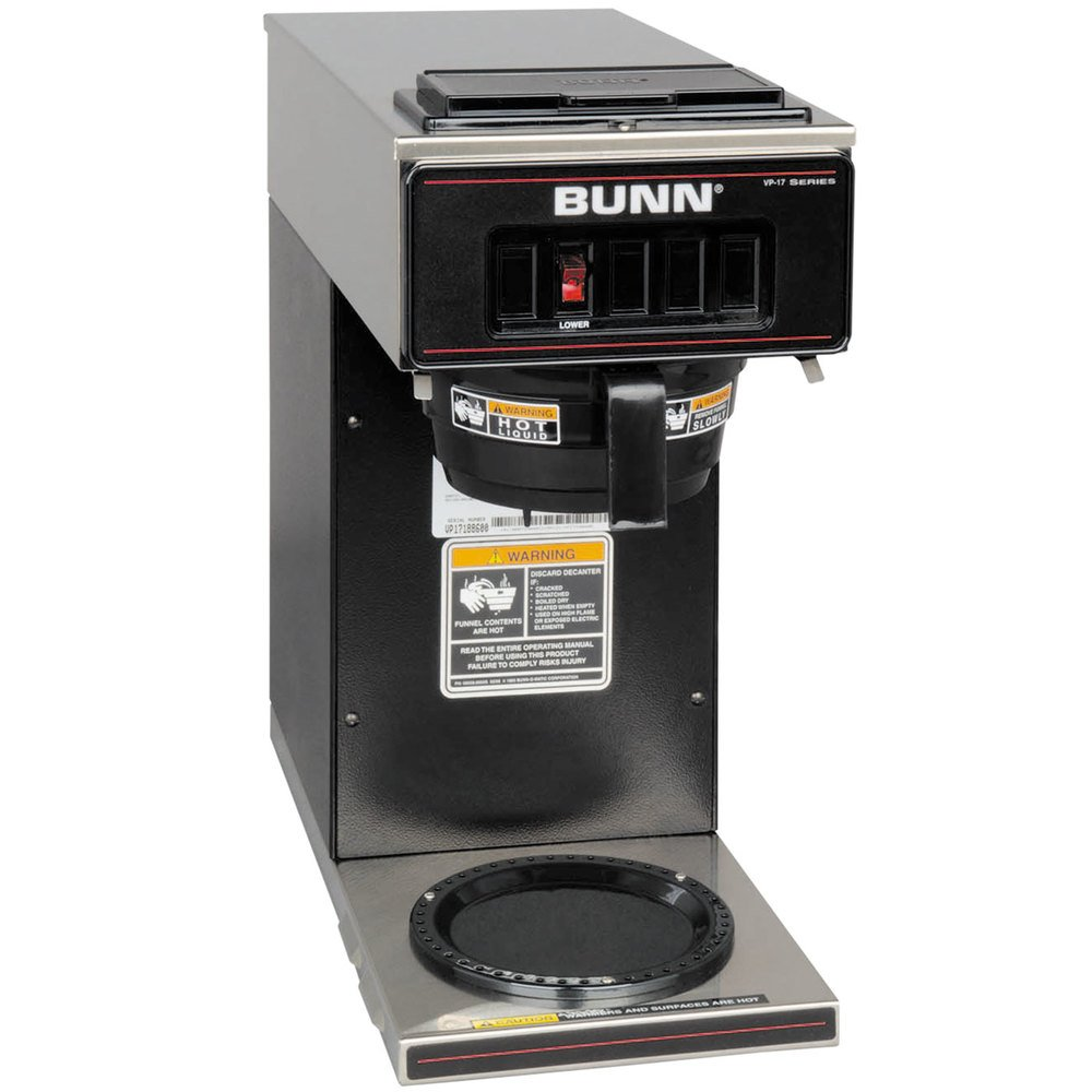 Bunn VP17-1 BLK Pourover Coffee Brewer with 1 Lower Warmer - Black 120V(Bunn 13300.0011)