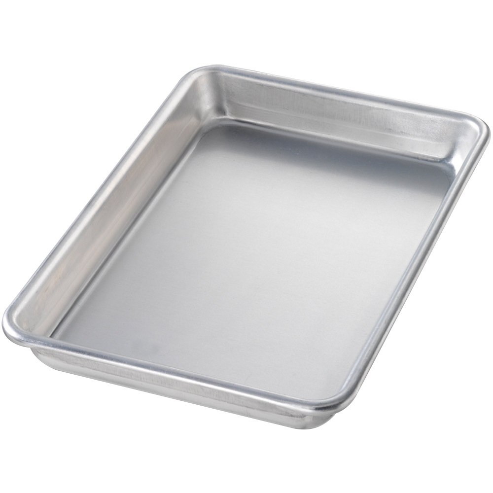 "Chicago Metallic 41805 Eighth Size 16 Gauge Glazed Aluminum Sheet Pan - Curled Rim, No Wire, 6 1/2"" x 9 1/2"""