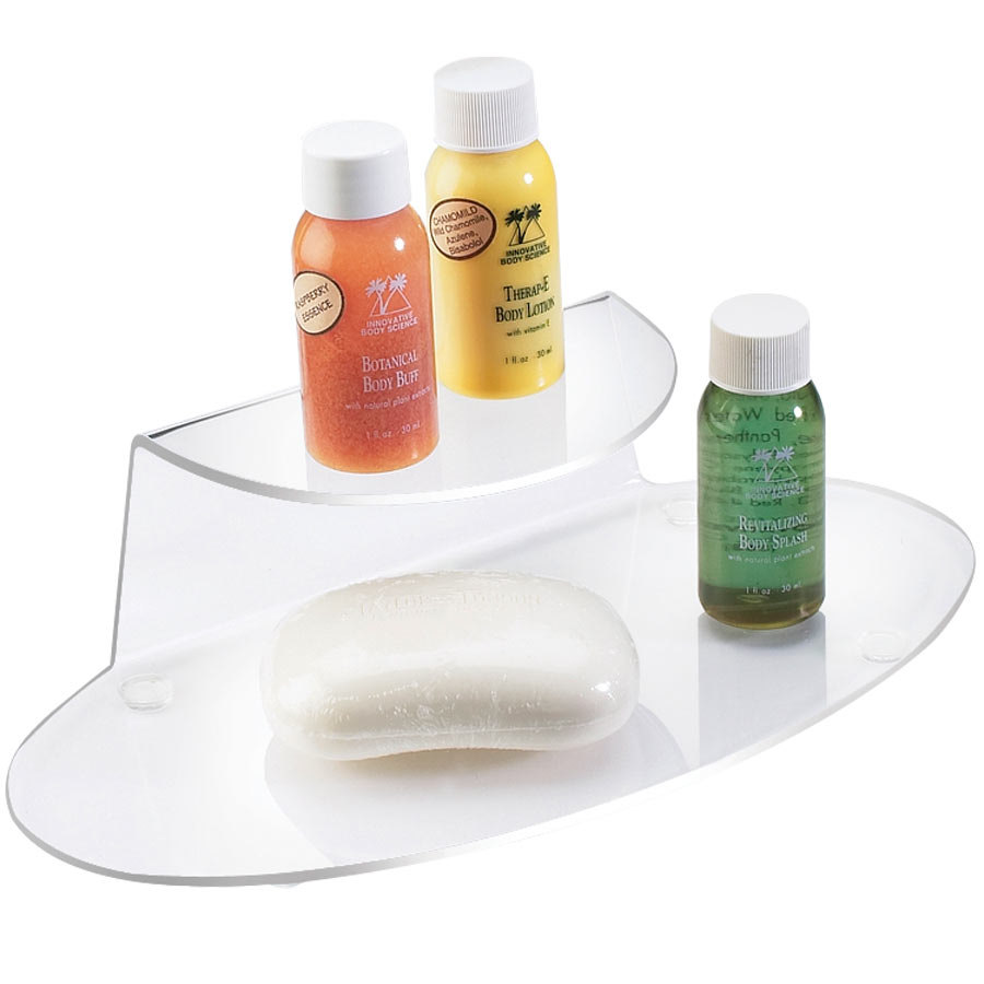 "Cal-Mil 809-12 Clear One Shelf Amenity Tray - 9 3/4"" x 4 1/2"" x 2 1/2"""