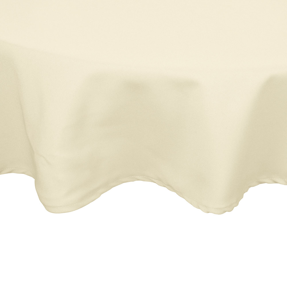 "132"" Round Ivory 100% Polyester Hemmed Cloth Table Cover"
