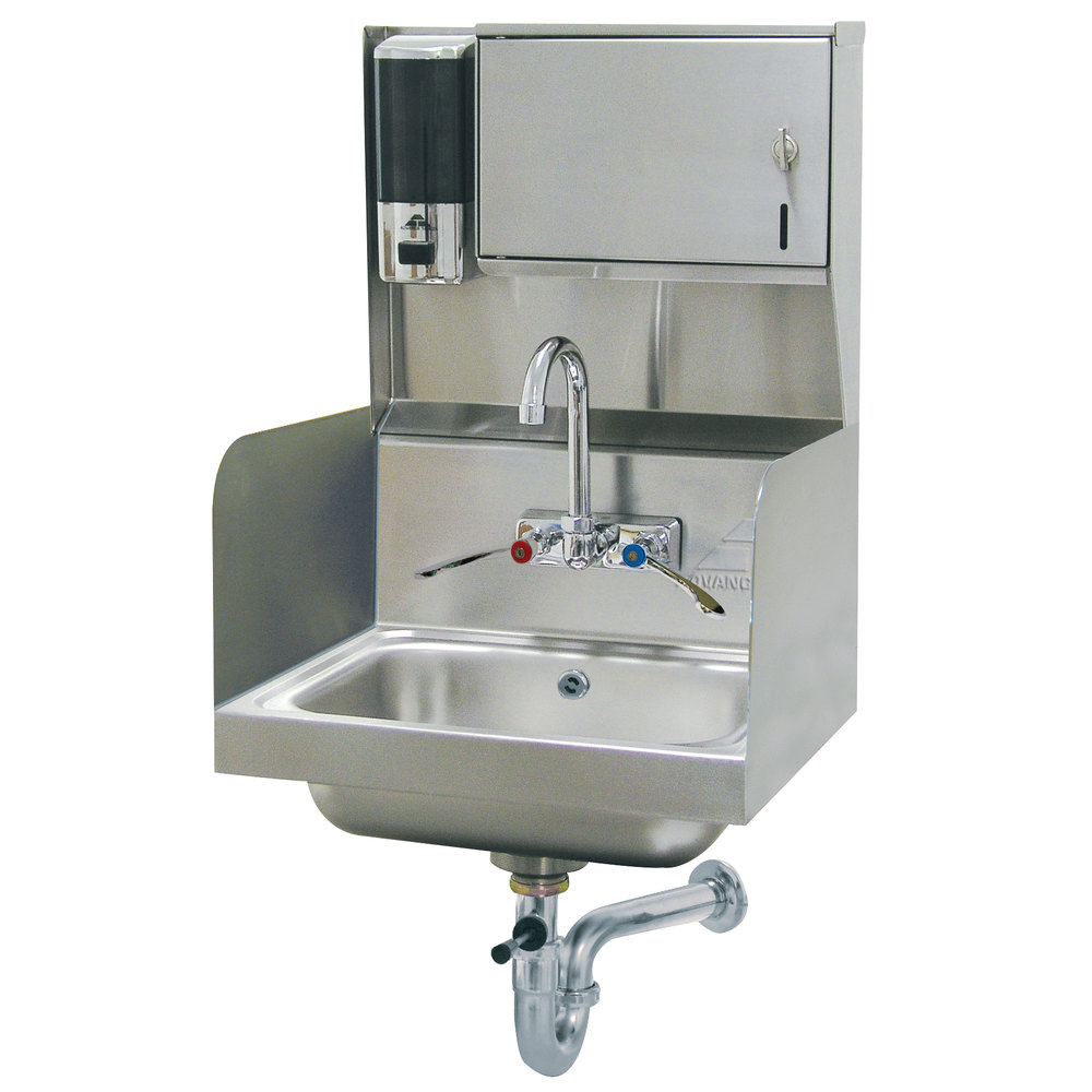 Advance Tabco 7-PS-87 Hand Sink with Side Splash Guards and Soap ...