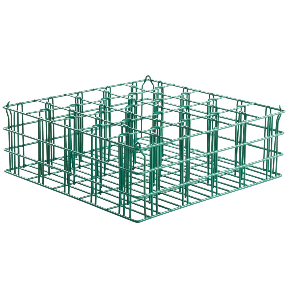 "16 Compartment Catering Glassware Basket - 4 3/8"" x 4 3/8"" x 2 3/4"" Compartments"