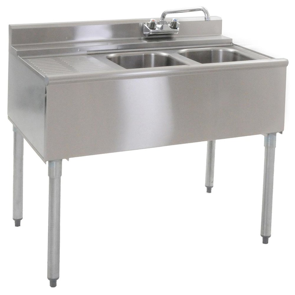 "Eagle Group B3L-2-22 36"" Underbar Sink with Two Compartments and Left Drainboard"