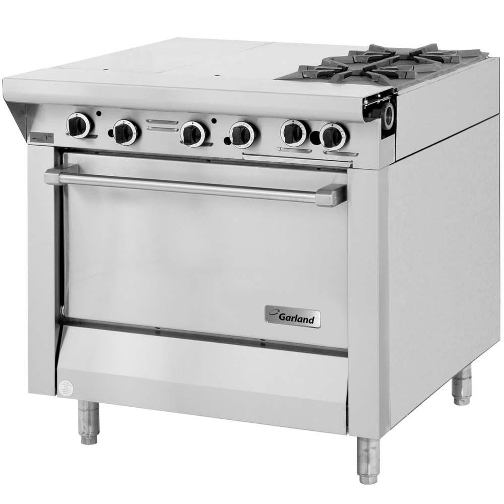 "Garland M43-1S Master Series Natural Gas 4 Burner 34"" Range with Even Heat Hot Top and Storage Base - 118,000 BTU"