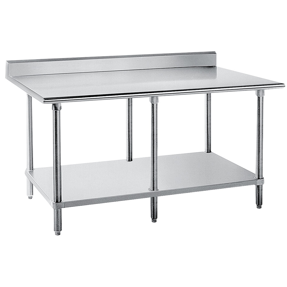 "Advance Tabco KLG-3010 30"" x 120"" 14 Gauge Work Table with Galvanized Undershelf and 5"" Backsplash"