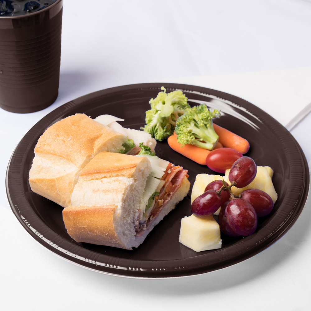 "Creative Converting 28303831 10"" Chocolate Brown Plastic Plate - 240/Case"