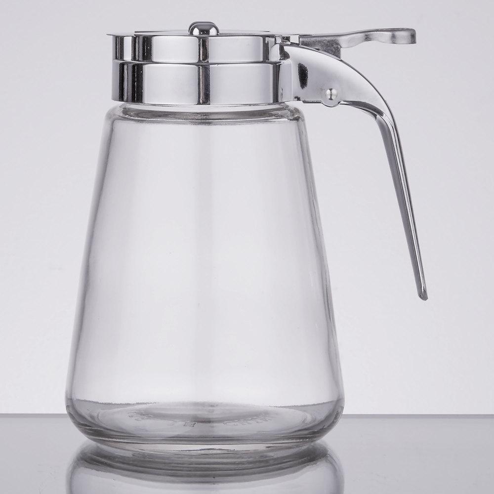 tablecraft cp  oz modern glass syrup dispenser with chrome  - modern glass syrup dispenser with chrome plated abs top