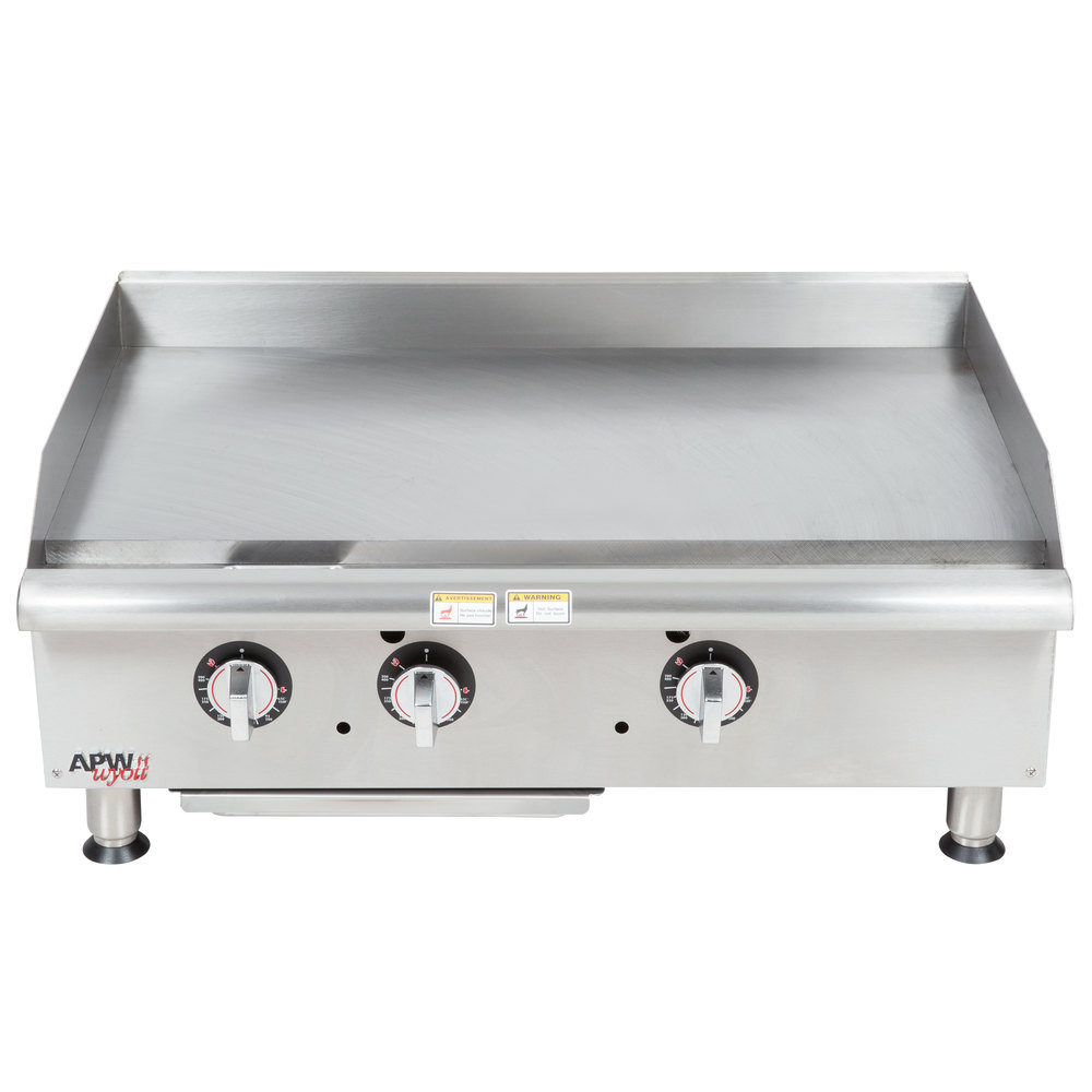 "APW Wyott GGT-36I 36"" Thermostatic Countertop Griddle - 75,000 BTU"