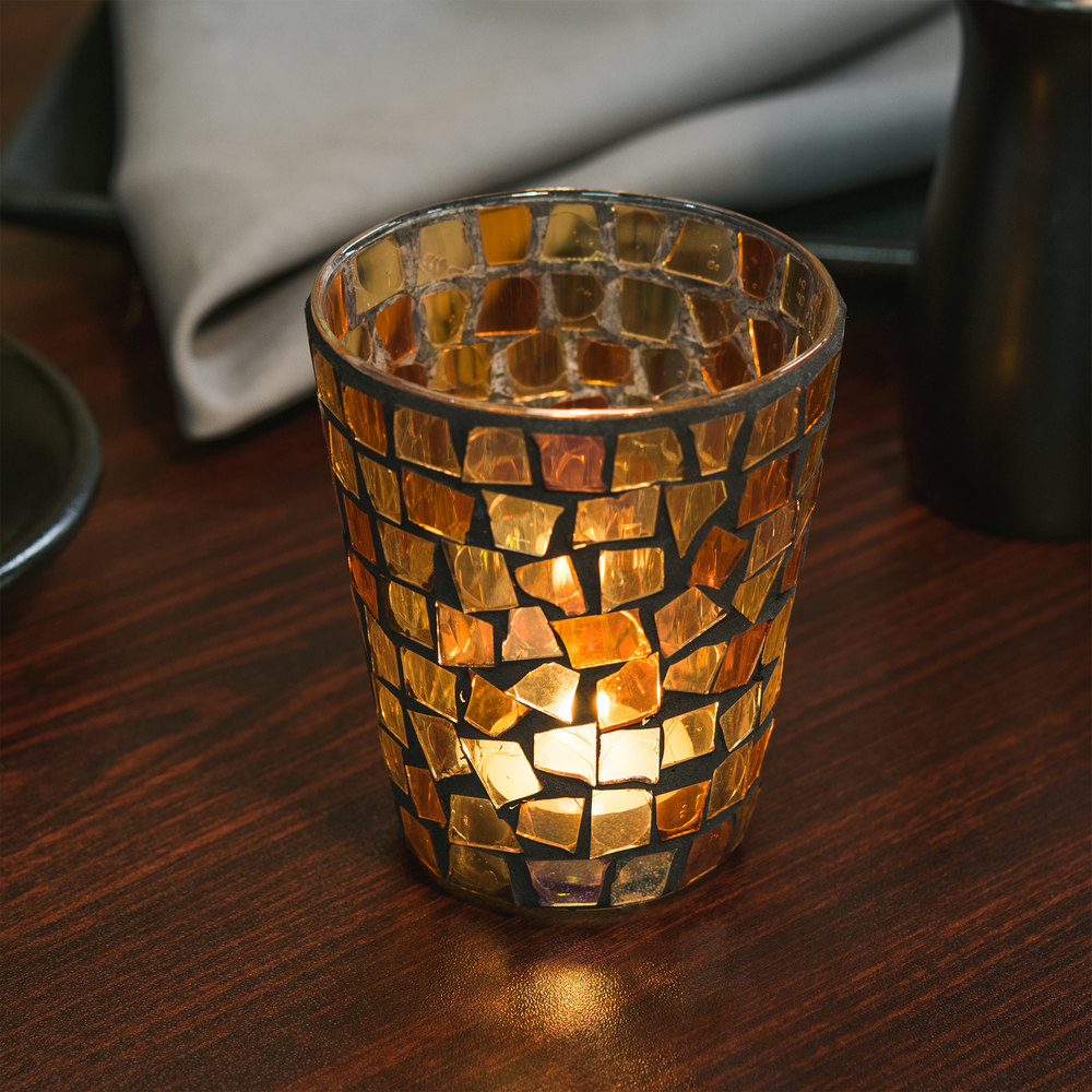 "Sterno Products 80124 4"" Fall Mosaic Liquid Candle Holder"