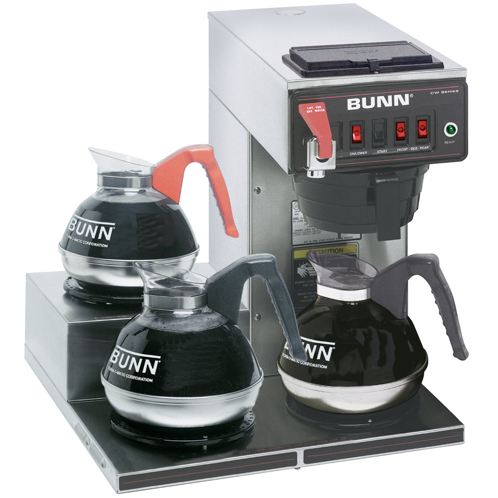 bunn cwtf15 automatic 12 cup coffee brewer with 3 left lower warmers and black plastic - Bunn Commercial Coffee Maker