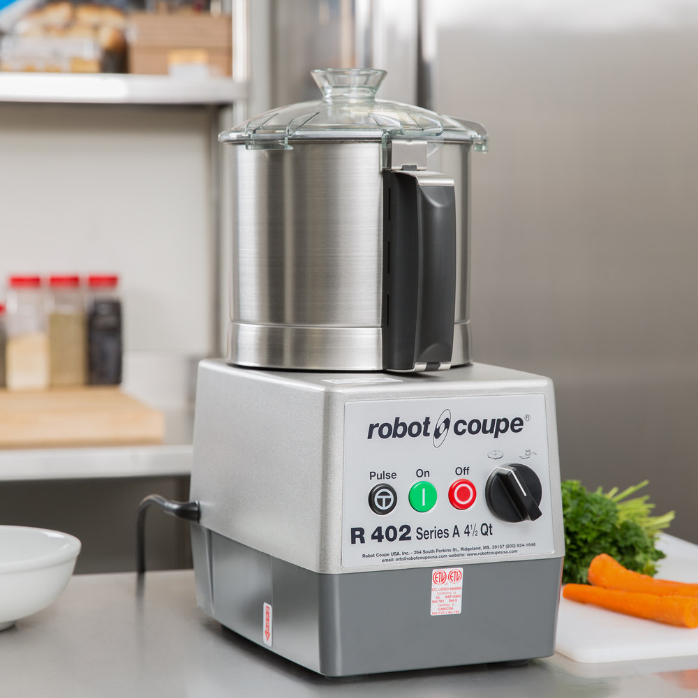 Robot Coupe R402 Combination Continuous Feed Food Processor with 4.5 Qt. Stainless Steel Bowl - 2 hp