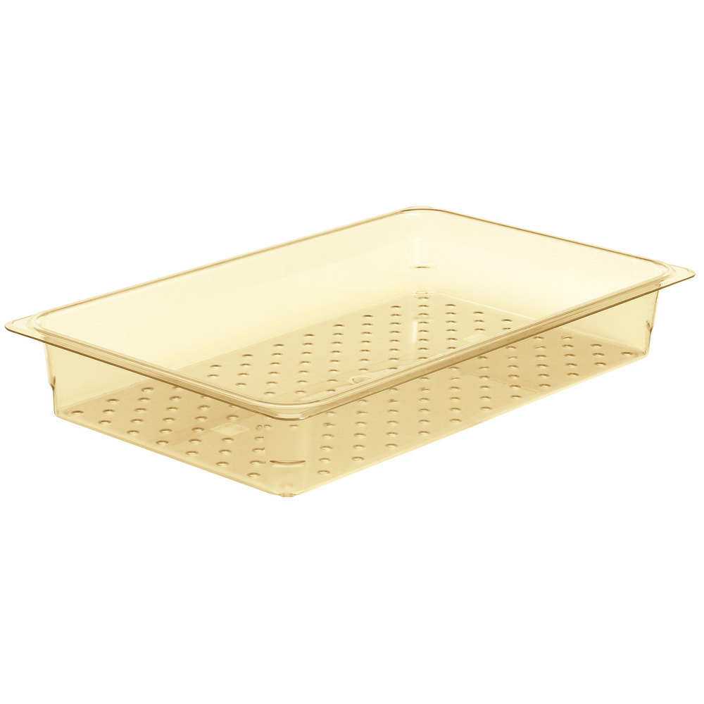 "Cambro 13CLRHP150 H-Pan Full Size Amber High Heat Colander Pan - 3"" Deep"