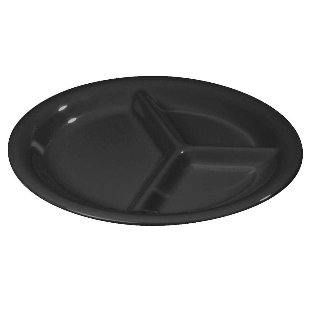 "Carlisle 3300003 10 1/2"" Black 3 Compartment Sierrus Narrow Rim Dinner Plate - 12 / Case"