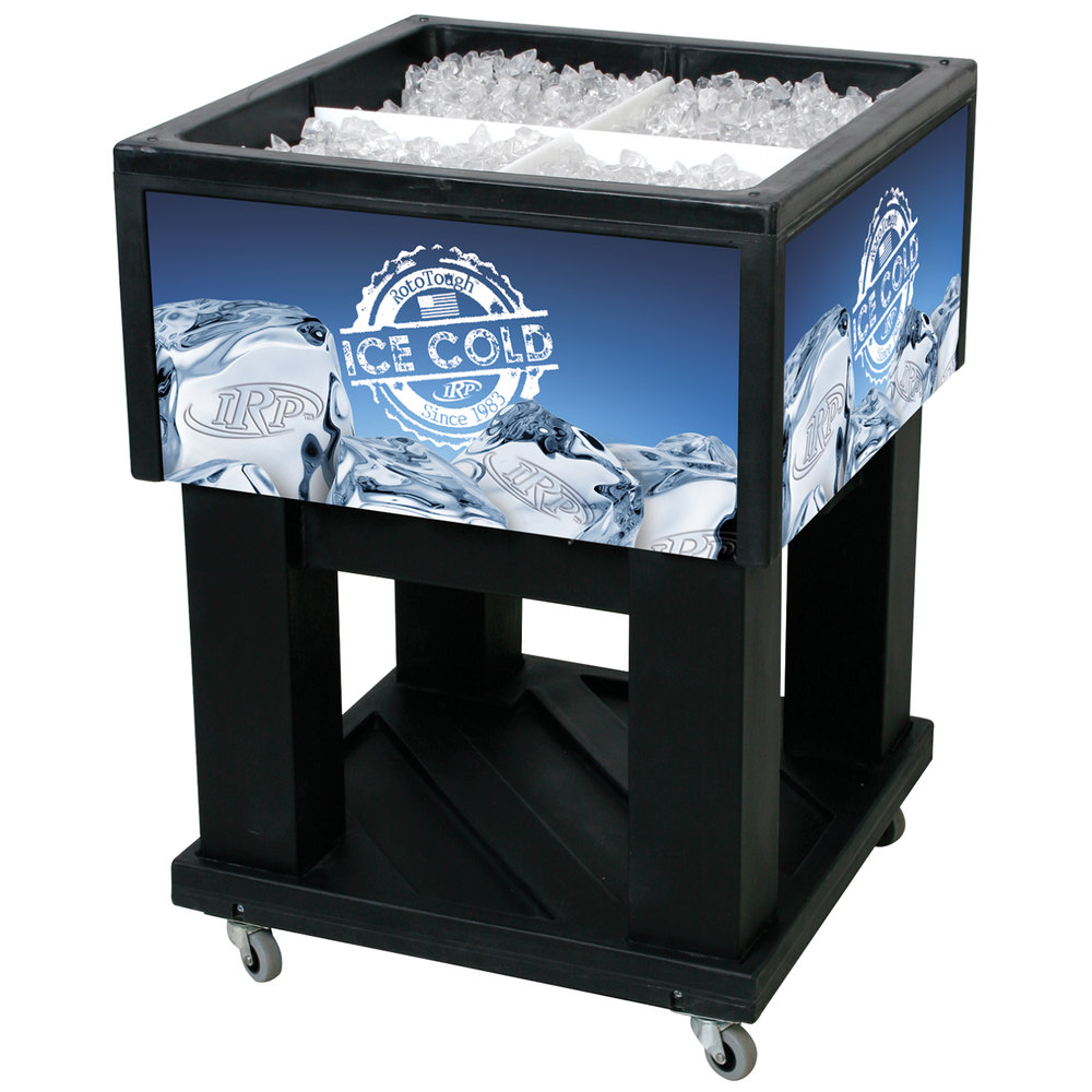 "IRP Black Mini Texas Icer 5015 Insulated Ice Bin / Merchandiser 32 Qt. with Dividers and Drain 23 1/4"" x 23 1/4"""