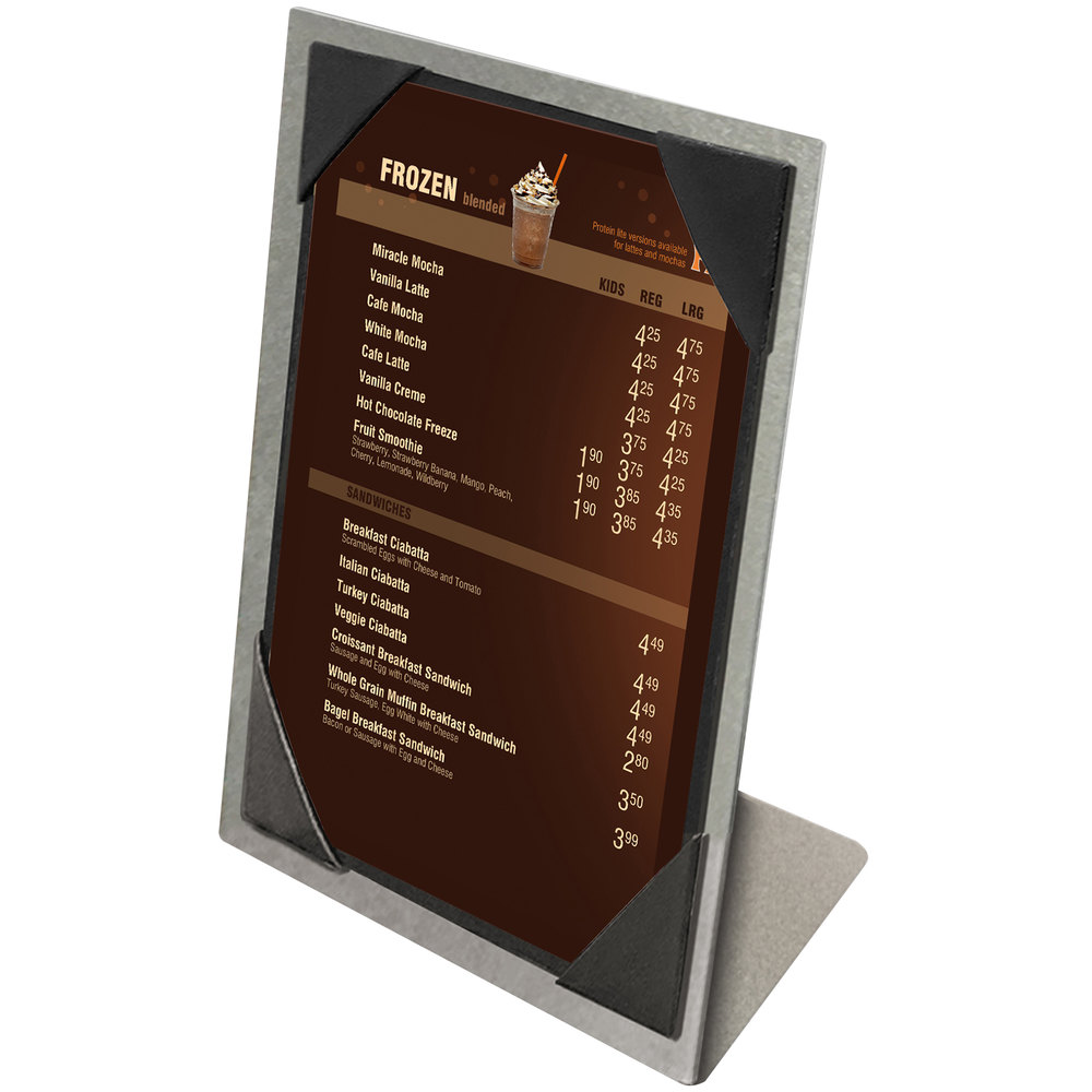 "Menu Solutions MTPIX-57 Aluminum Menu Tent with Picture Corners - Brushed Finish - 5"" x 7"""