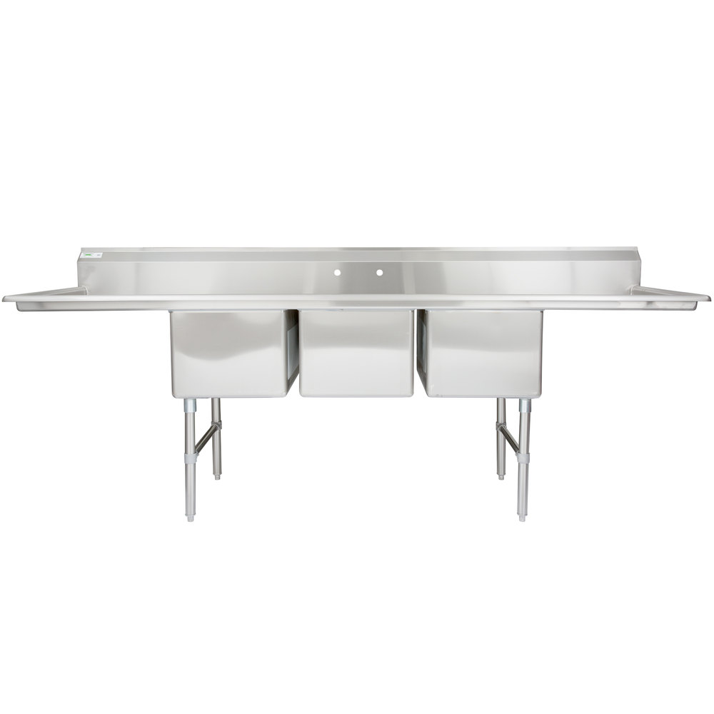 "Regency 106"" 16-Gauge Stainless Steel Three Compartment Commercial Sink with 2 Drainboards - 18"" x 24"" x 14"" Bowls"