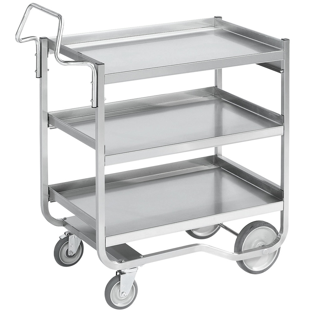 "Vollrath 97211 Knock Down Heavy-Duty Stainless Steel 3 Shelf Utility Cart - 38"" x 21"" x 42"""
