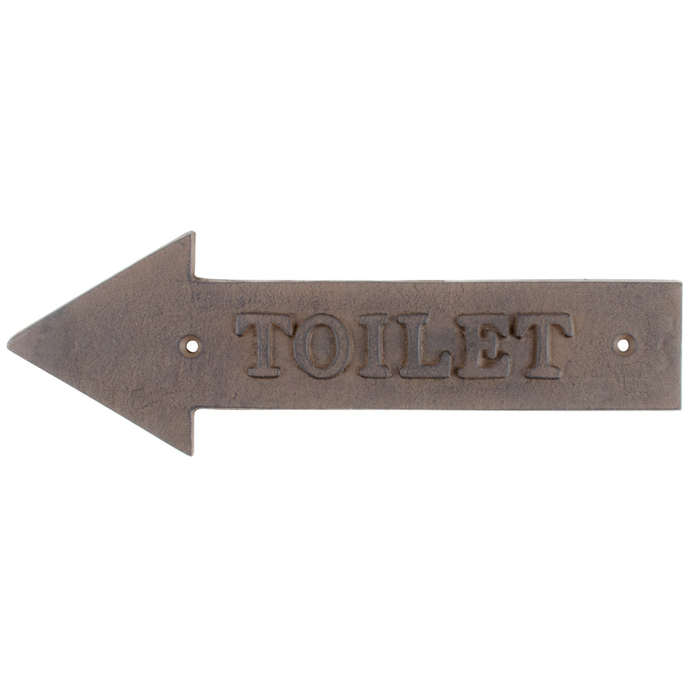 Tablecraft Wcl Toilet Sign With Left Arrow Bronze 11 1