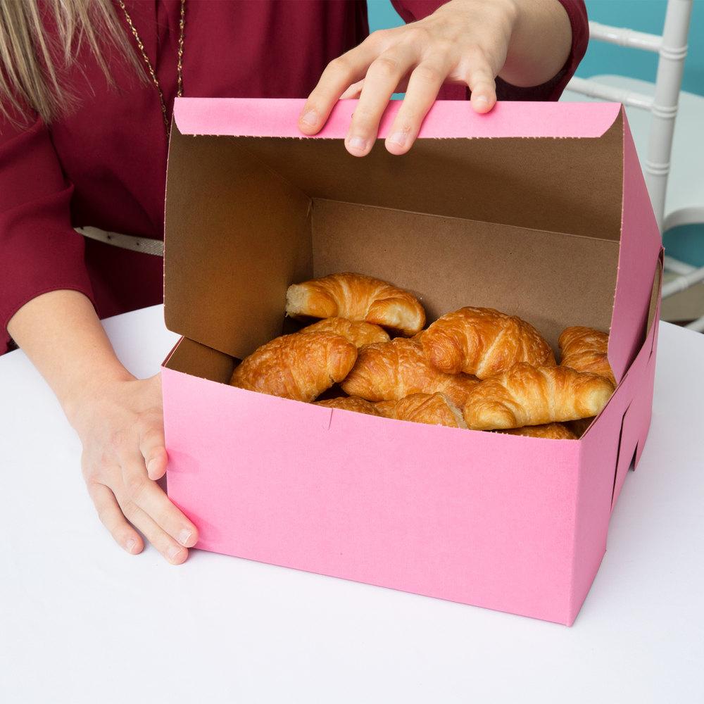 "Southern Champion 0878 10"" x 10"" x 5"" Pink Cake \/ Bakery Box - 100\/Bundle"