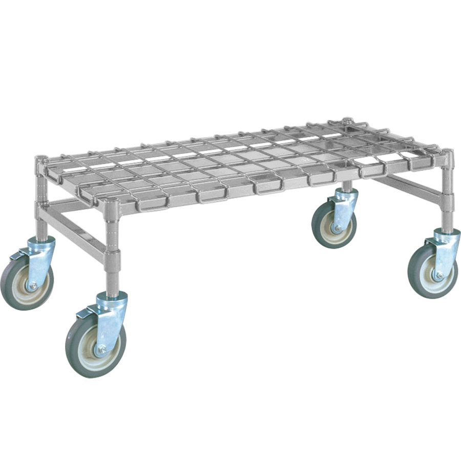 "Metro MHP33S 36"" x 18"" x 14"" Heavy Duty Mobile Stainless Steel Dunnage Rack with Wire Mat - 800 lb. Capacity"